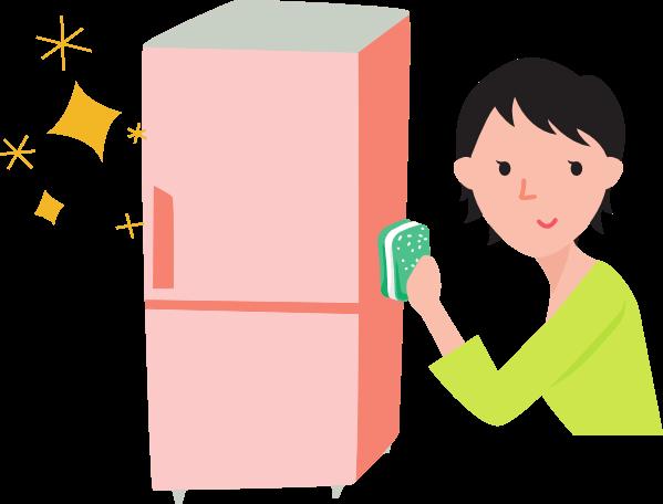 冷蔵庫をスポンジで磨く